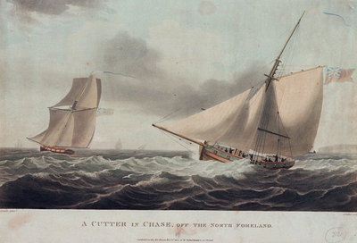 A cutter in chase, off the North Foreland by Thomas Whitcombe - print