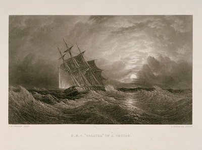 HMS 'Galatea' on a cruise by Oswald Walter Brierly - print