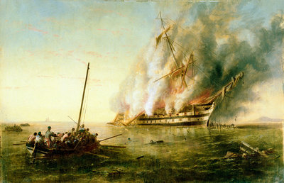 The 'Bombay' on fire 1861 by Richard Brydges Beechey - print