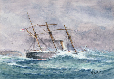 Escape of HMS 'Calliope', Samoa by W. Sutton - print