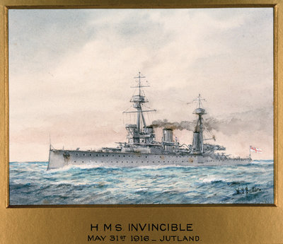 HMS 'Invincible' in Jutland, 31 May 1916 by W.J. Sutton - print