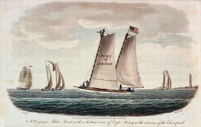 A Virginia pilot-boat with a distant view of Cape Henry at the entrance of the Chesapeake by G. T. - print
