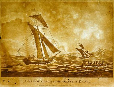 A sloop cruising off the Coast of Kent by Haines & Son - print