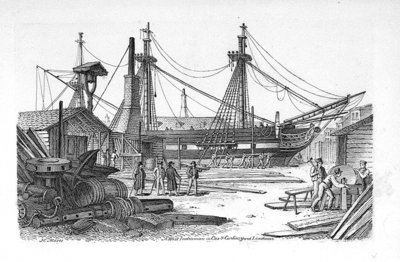 A West Indiaman in Cox & Curlin's yard Limehouse by Chatfield & Coleman - print