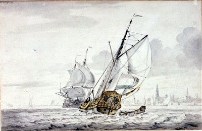 A Dutch Yacht beating out of a harbour off Kampsen by Wigerus Vitringa - print