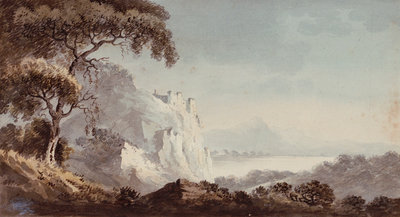 Rocky coast with castle by George Bulteel Fisher - print