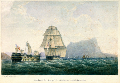 'Belleisle' in tow of the 'Naiad' on 23 October 1805 by P.H. Nicolas - print