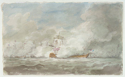 Battle of the First of June 1794, le 'Juste' and 'Invincible' by Nicholas Pocock - print