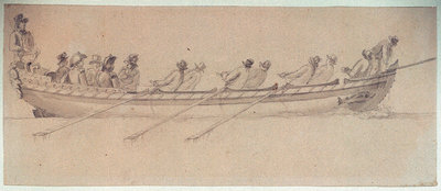 A naval barge with eight oarsmen by Nicholas Pocock - print