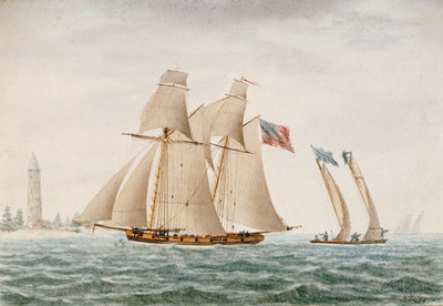 American schooner 'Thetis' in 1794 - Coast of Virginia by G. T. - print