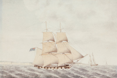 A brig under sail in the Channel by Samuel Hood Inglefield - print