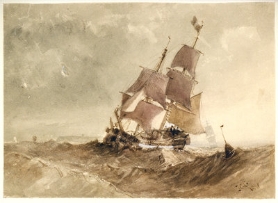 A brig in a sea with a distant coast by James Chrisholme Gooden - print