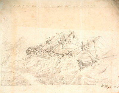 HMS 'Boscawen' in a hurricane off the Bermudas, 22 October 1854 by C. Royle - print
