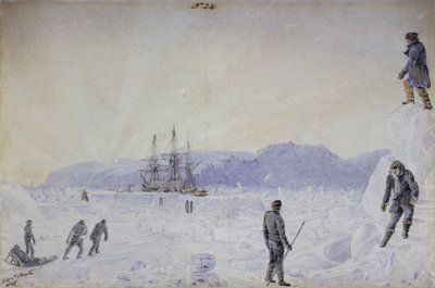 No.24 View of HMS Terror surrounded by snow walls and part of Southampton Island with an effect of sunrise, Jan 1837 by William Smyth - print