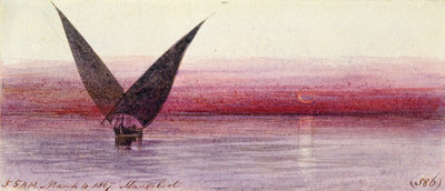 On the Nile at Manfaloot, Egypt by Edward Lear - print