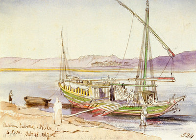 Between Daboad & Phila, Egypt by Edward Lear - print