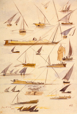 Studies of various Egyptian craft by Edward Lear - print