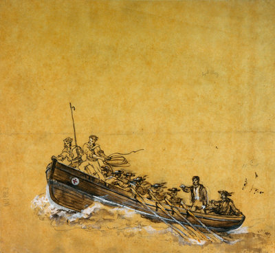 A naval long-boat by Oswald Walter Brierly - print