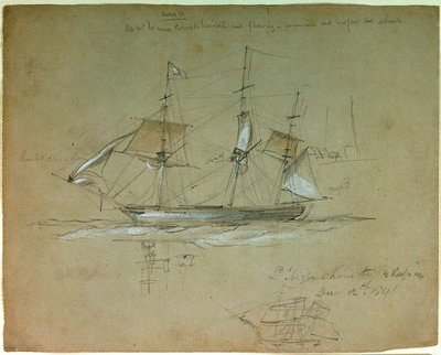 'L' Aigle' hove to and reefs in, 12 December 1841 by Oswald Walter Brierly - print
