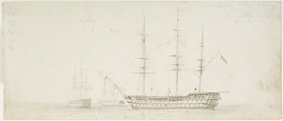 The 'Royal William' at anchor by Oswald Walter Brierly - print