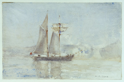 A schooner off shore by Henry Scott Tuke - print