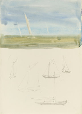 Three yachts at sea in the hazy distance with graphite sketches of yachts below by William Lionel Wyllie - print