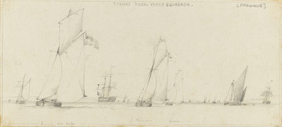 Yacht racing on the Thames. Cutter yachts 'Success', 'Mr Hope', 'Remus' and 'Gnome', with a Thames barge and other shipping by Edward William Cooke - print