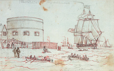 Sketch of a naval vessel the Tweed entering Portsmouth, with figures in rowing boats and on the shore in the foreground, and women hanging out washing, with inscriptions by Henry Moses - print
