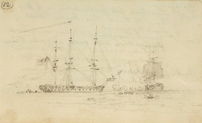 Captain Hood in the Juno goes into Toulon inner harbour, engages enemy and escapes by Nicholas Pocock - print