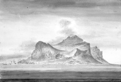 Cumberland-Mount Pelegrino; the mole; palace of Prince Belmonte - from the anchorage off Port Felice, Palermo Bay by William Innes Pocock - print