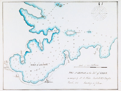 Map of Port St George in the Island of Lissa as surveyed by Mr W White, Master HMS 'Eagle', March 1812 by William Innes Pocock - print