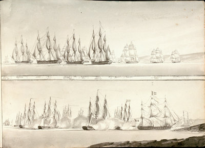 Different modes of painting line of battle ships by William Innes Pocock - print