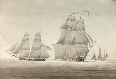HMS 'Menelaus' and 'Eclair' with a settee by William Innes Pocock - print