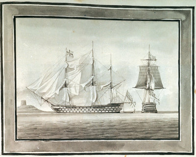 HMS 'Caledonia' in two positions by William Innes Pocock - print