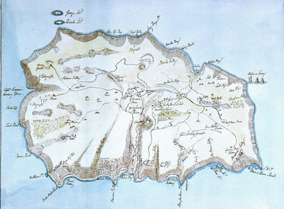 Map of the island of St Helena by William Innes Pocock - print