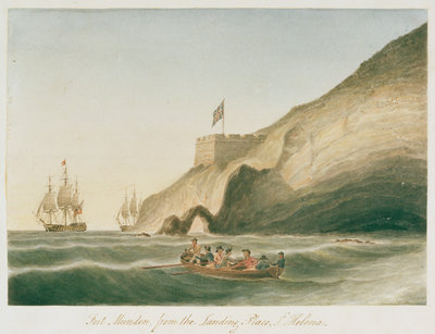 Fort Munden, from the Landing Place, St Helena by William Innes Pocock - print