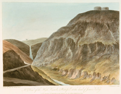 No 2, View of the High Knowle, & Waterfall at the head of James's Valley by William Innes Pocock - print