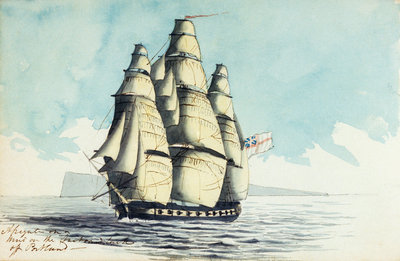 A brig of war on the starboard tack off the Lizard by Henry Studdy - print