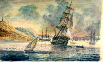 British man of war in a Mediterranean anchorage by D. Tandy - print