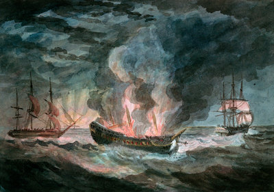 Fighting vessel blowing up at sea, with two others nearby by D. Tandy - print
