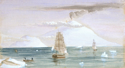 Beaufort Island and Mount Erebus. Discovered 28 January 1841 by J.E. Davis - print