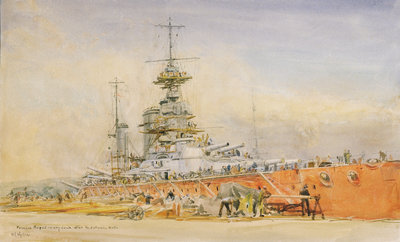 'Princess Royal' in dry dock at Portsmouth after the Battle of Jutland, 1916 by William Lionel Wyllie - print