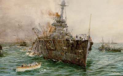 HMS 'Audacious' sinking off Loch Swilly after striking a mine, 27 October 1914 by William Lionel Wyllie - print