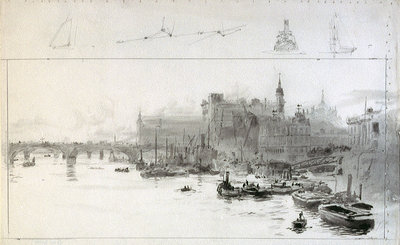 View towards Cannon Street Station from the East by William Lionel Wyllie - print