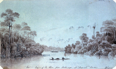 West view of the river from Anchorage off Sarawak Borneo by Edward Augustus Inglefield - print