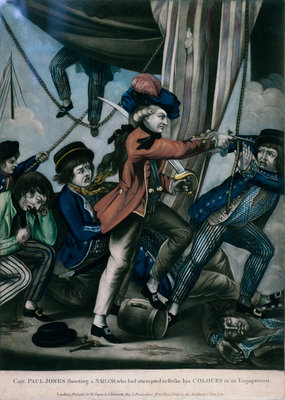 Capt. Paul Jones shooting a sailor who had attempted to strike his colours in an engagement by Robert Sayer & John Bennett - print