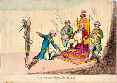 Rodney introducing de Grasse (caricature) by H. Humphrey - print