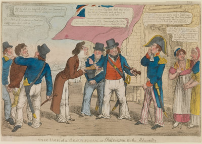 'The use of a gentleman or patronage for the Admiralty' (caricature) by Thomas Tegg - print