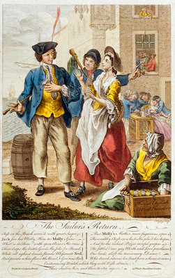 'The Sailor's Return': the temptations of loose women, drink and the general licentiousness found ashore (caricature) by C. Mosley - print