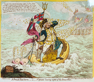 A French Hail Storm, - or - Neptune losing sight of the Brest Fleet by James Gillray - print